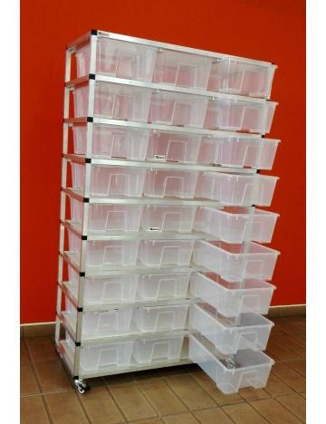 Rack Aluhobby K2 - dziewięć kondygnacji z pudełek