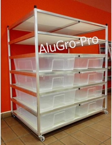 Rack  Aluhobby K1 -  sześć pięter łącznie z pudełkami
