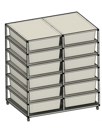 Rack  Aluhobby K1 - dwanaście pudełek