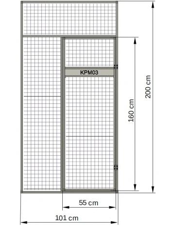 Ściana przednia - lada karmienia w drzwiach woliery 01